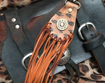 Distressed Leopard Key Fob