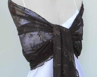 Shawl in Brown lace, Brown woman elegant Brown lace scarf shawl, special gift, woman, evening shawl stole Christmas, rain