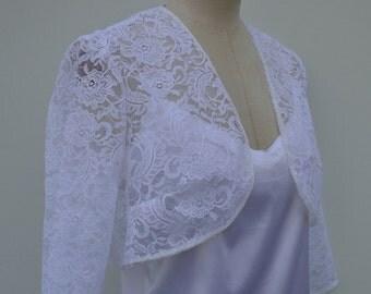 White lace Bolero, wrap over top wedding lace, lace, white wedding, white lace, French bolero jacket bolero long