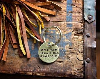 Gypsy Heart Mermaid Soul Hippie Spirirt keychain | hand stamped gift boho bohemian