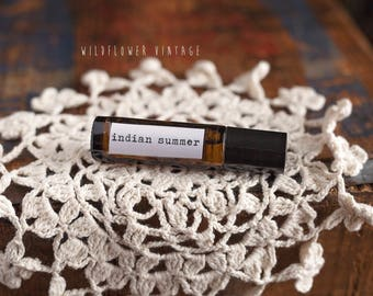 Indian Summer Essential Oil Roll-on Perfume | Beachy Tradewinds Natural Scent Geranium Cedarwood Vetiver Ylang Ylang EO Blend