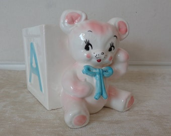 Vintage Teddy Bear Planter, Baby ABC's Planter numbered C4313, Teddy Bear Baby Ceramic