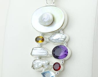 Fresh Water Pearl Amethyst Garnet Citrine 925 S0LID Sterling Silver Pendant + 4MM Snake Chain p4194