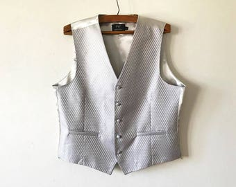 Mens Silver Gray Classic Waistcoat Steampunk Gentlemen's Shiny Silver Vest Edwardian Victorian Back To School Mens Dress Up Size XL Large