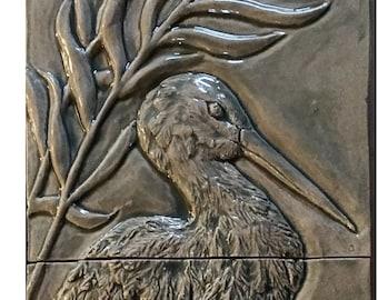 Ceramic Elegant Heron, 8″ x 24″ in Grey green glaze.