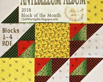 Antebellum Album. 2018 BOM Patterns 1-4 from Barbara Brackman's Civil War Quilts Blog. PDF to Print Yourself. Pieced Historic Album Blocks