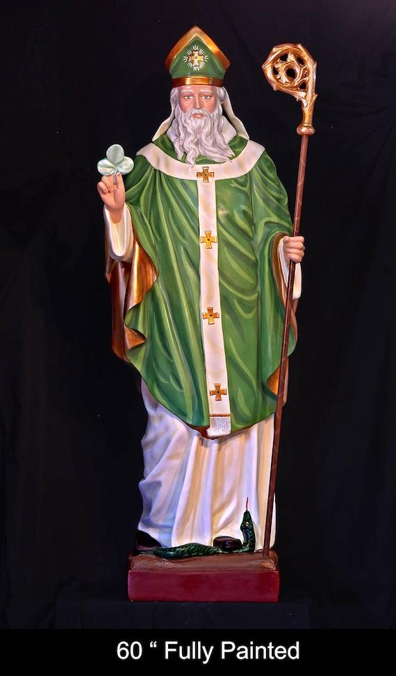 "St. Patrick of Ireland 48"" & 60"" Fiberglass Catholic Christian Statue"