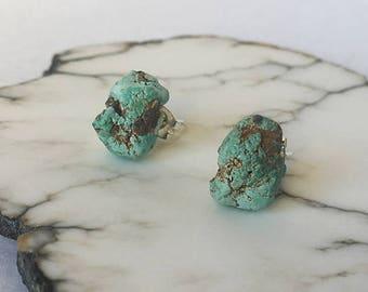 Raw Turquoise Stud Earrings, Turquoise Earrings, Sterling Silver, Raw Turquoise, Raw Stone Earrings, Sterling Silver Earrings, No.3