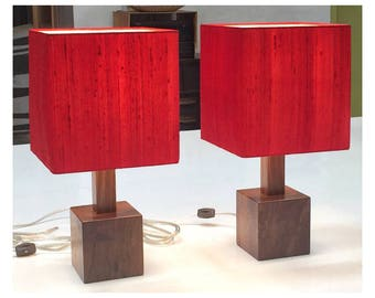 """Modern walnut table lamp pair, red silk square shade, new vintage, bedside lamps """"Tao"""""""