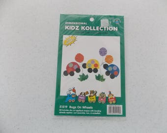 Iron-on Fabric Applique Kit - Bugs on Wheels
