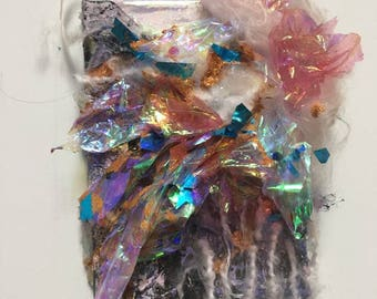 Race- Abstract Mixed Media Futuristic Textile Glitter Punk Painting