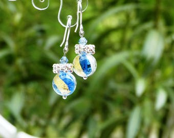 Gold and Silver earrings blue Murano glass