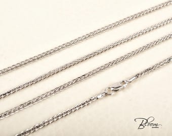 Wheat Gold Chain 14K White Gold Chain Necklace Wheat Gold Necklace White Gold Chain for Pendant BloomDiamonds