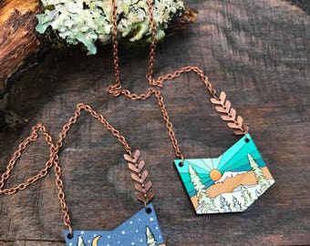 Wooden Necklace - Winter Wonderland