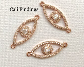 18K Rose Gold Plated Evil Eye Pave Connector, Rose Gold Evil Eye, Pave Eye Charm, Evil Eye Charm, Rose Gold Evil Eye, Eye Pendant [2083]