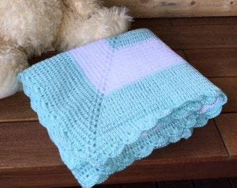 Crochet baby blanket throw afghan Green & white throw handmade newborn baby blanket pram cot crib bassinet baby bedding gift Etsy Australia