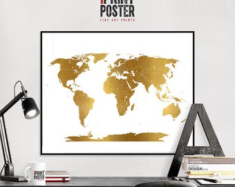 world map poster with simulation of gold ink, world map wall art print, map of the world, large world map, iPrintPoster