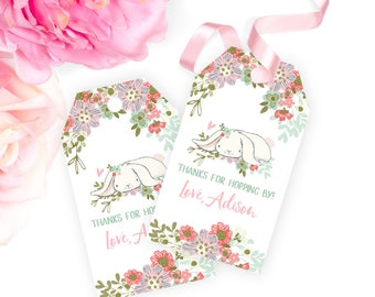 Some Bunny Favor Tags PRINTABLE Bunny Birthday Gift Tags Girl Birthday Party Favor Tags Birthday Thank You Tags Floral Birthday Tags 3,5x2""