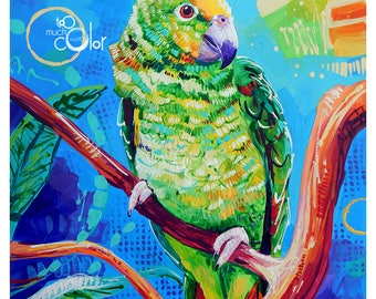 """Yellow Headed Amazon Parrot - Original colorful traditional acrylic painting on paper 9""""x12"""""""
