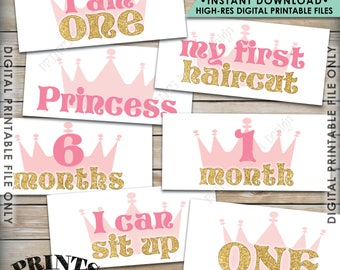 "First Birthday Photo Banner, 1st Birthday Banner Pink & Gold Glitter 1st Year Banner, 2.5x5"" Cards Printable 8.5x11"" Sheet, Instant Download"