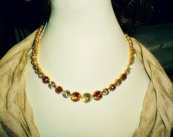 Vintage 1960's Orange and Chartreuse Rhinestone Petite Size Necklace 16 Inch