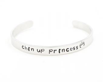 Inspiration bracelet Chin Up Princess Crown Hand Stamped  Bracelet .Inspirational Jewelry . Bracelets .. Don't Give up.