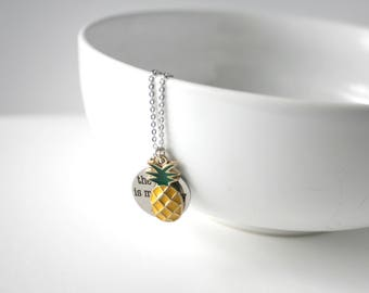 Beach Necklace / Pineapple Necklace / Summer Fashion / Layering Necklace / Gifts for Her / Birthday for Her / Summer Necklace