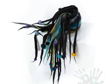 Nuno felt scarf / Felted scarf / Handmade felted scarf / Wool Scarf / Scarf with dreads / Merino wool / Free shipping.