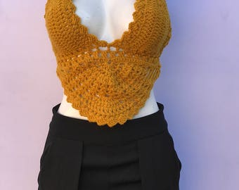 mustard crochet top, festival top, crochet crop top, crochet top bra. beach wear, boho, gypsy, coachella, hippie, woman clothing