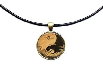 Yin Yang necklace Moon pendant Astronomy jewelry