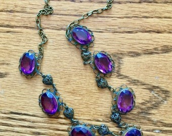Amethyst crystal cabochon necklace bezel mount open back filigree Edwardian Art Deco style faceted up-cycled from antique cabochons