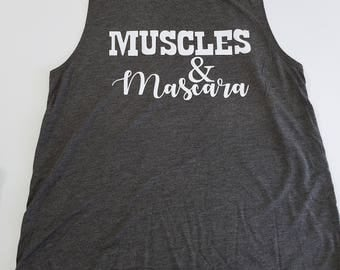 Dark Grey Heather Muscles and Mascara Tank Top, Muscle Tank, Gym Junkie, Fit Chick, Funny Workout Tank Top, Fun Gym Tank Top, Graphic Tank