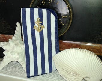 Navy Blue sailor style glasses case and white