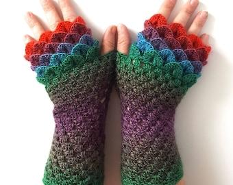 OOAK Dragon gloves Fingerless gloves Womens gloves Winter gloves handmade wrist warmers arm warmers texting gloves Driving gloves