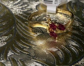 14k Yellow Gold Ruby Ring with Diamond
