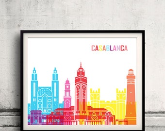 Casablanca skyline pop - Fine Art Print Glicee Poster Gift Illustration Pop Art Colorful Landmarks - SKU 2405