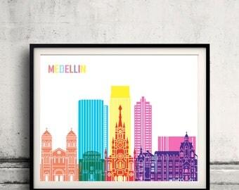 Medellin skyline pop - Fine Art Print Glicee Poster Gift Illustration Pop Art Colorful Landmarks - SKU 2421