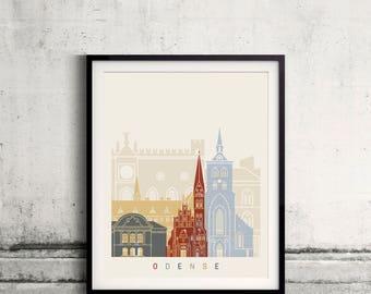 Odense skyline poster - Fine Art Print Landmarks skyline Poster Gift Illustration Artistic Colorful Landmarks - SKU 2518