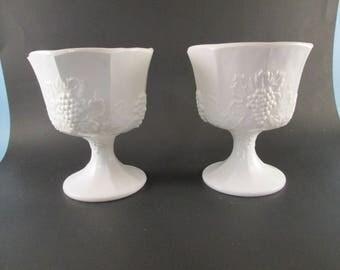 Pair of Westmoreland White Milk Glass Grape & Vine Pattern Pedestal Planters Compotes Vases