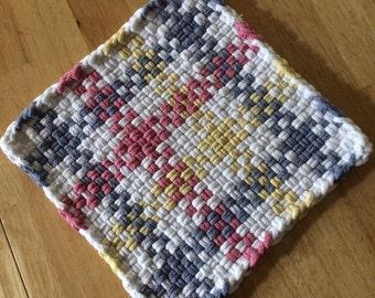 Multi colored large woven potholder