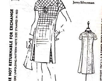 Dress Pattern Spadea Designer Jerry Silverman Size 18 Factory Folds Bias Cut Yoke Body of Dress on the Straight Great for Checked Fabrics