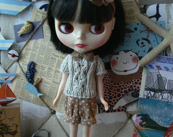 Old Pink headband for Blythe with vintage flowers dolls hairband handmade in Paris France