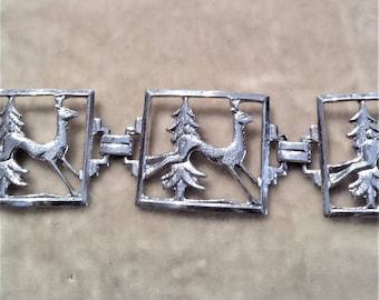 Vintage Sterling Silver Deer Bracelet