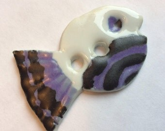 Whimsical, purple lavender, black & white, fish-shaped, 1.75-inch handmade porcelain ceramic button