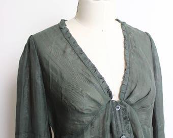 DIANE VonFURSTENBERG Vintage Silk Shimmery Green Button Up Blouse