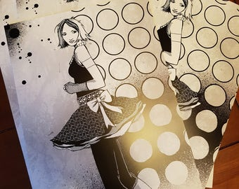 80's Girl black & white A3 poster print