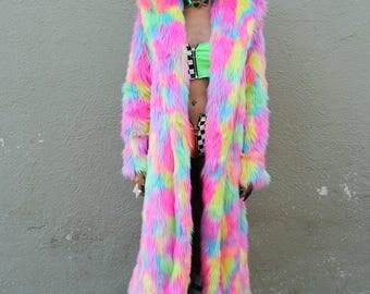 Long rainbow electric kool-aid faux fur coat with pockets