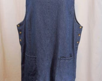 Vtg Van Heusen Denim Jumper Size XL Knee Length Side Button Patch Pockets Sleeveless Modest Made in Hong Kong