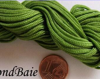 FIL Echeveau 15m nylon tressé 1,5mm Vert Olive DIY création bijoux bracelet shamballa tressage