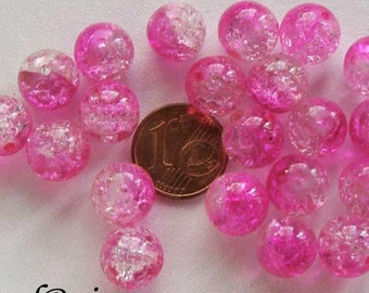 20 perles verre craquelé rond 10mm Transparent Fuchsia DIY création bijoux